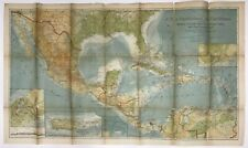 Vintage Original 1922 National Geographic Map of the Central Latin America