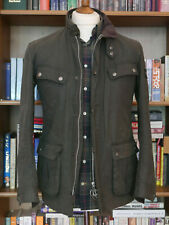£199 Mens Barbour International Duke sage green waxed jacket size S Small 34 36