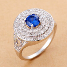 925 Silver Natural Gemstone Blue Sapphire Ring Wedding Engagement Jewelry Size 9