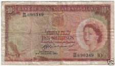 RHODESIA & NYASALAND 10 SHILLINGS 9 JANUARY 1961 PICK 20 LOOK SCANS