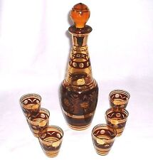 Bohemia Glas - Likör Karaffe mit 6 Gläsern um 1960 (Glass Decanter Flakon)