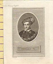 1793 ANTIQUE GEORGIAN PRINT ~ KING EDWARD VI ~ SIXTH