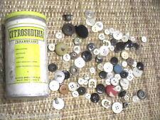 VECCHIO BARATTOLO CITROSODINA GRANULARE + parecchi vecchi bottoni d epoca da di