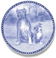 American Pit Bull Terrier & Puppy: Danish Blue Porcelain Plate #3081