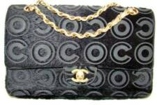 CHANEL Vintage Black COCO Velour Flap Handbag with Peach Lambskin Lining Gold HW
