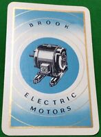 Playing Cards 1 Single Swap Card - Old Vintage Advertising BROOK ELECTRIC MOTORS