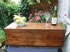 Stunning Stripped Wax Polished Wooden Storage  Chest Trunk Bench Storage Table
