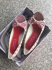 Authentic Betsey Johnson Red Polka Dot Valyn Bow Peep Toe Heels (Size 6.5)