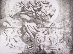Keith LOOBY Frail Life - Original Signed Etching, Surreal Landscape, Limited Ed.