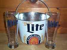 MILLER LITE 2 PILSNER STYLE BEER PINT GLASSES & METAL ICE BUCKET COOLER NEW