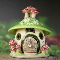 Windlicht Häuschen ca.13,5 cm hoch - mit Fliegenpilzen - Honiglicht Keramik