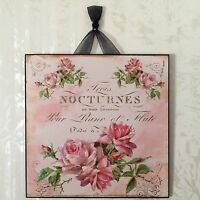 Shabby Pink Roses Wall Decor Sign Plaque French Country Chic
