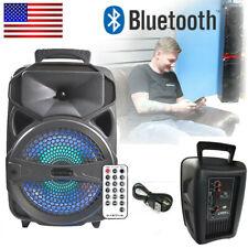 "8"" Bluetooth Led Speaker 1000W Subwoofer Portable Stereo Tailgate Loud Fm P"