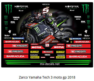 Zarco Yamaha Tech 3 moto gp 2018  full decal set