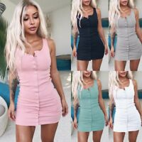Women's Bandage Bodycon Casual Sleeveless Evening Party Cocktail Club Mini Dress