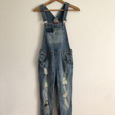 Arizona Women's Denim Bib Overalls Light Blue Cotton Distressed Sz Small