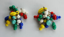 VINTAGE GLASS CLUSTER EARRINGS • CLIP ON • MIXED COLORS JAPANESE GLASS BEADS