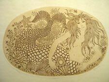 "Sirene Mermaid Etching Felicity Rainnie Signed Numbered 19"" X 15"" Vintage"
