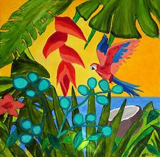 Großes Bild Original Ölgemälde Moderne Kunst Tropisch Palmen Papagei 100 x 100cm