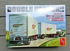 "AMT 1/25 "" DOUBLE HEADER "" 27 FT. TANDEM VAM TRAILERS PLASTIC MODEL KIT 1132 F/S"
