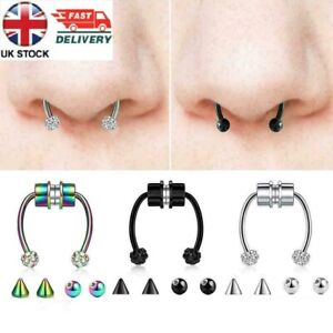 UK-Magnetic Nose Ring Fake Septum Segment Helix Tragus Faux Clicker Non-Piercing
