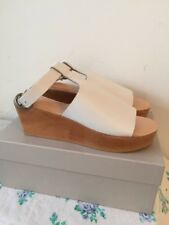Ladies White Leather PEEP Toe Lina Wedge Clog Sandals Size 40 by Jigsaw