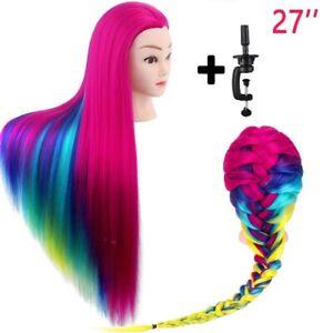 Human Hair Training Head Salon Hairdressing Practice Mannequin Doll & Clamp 27''