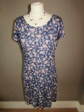MARKS & SPENCER Ladies Navy Blue Floral Cotton Mix Tunic Dress Lace Trim Size 18