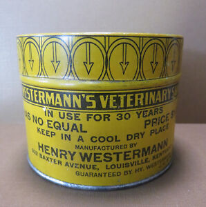Hard to Find Antique Westermann's Veterinary Pine Tar Salve Tin Circa 1906