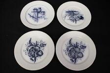 """4pc Vintage P. REGOUT Maastricht PLATA Birds & FRUIT Flow Blue 8"""" Plates"""