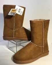 NEW WESTERN CHIEF Boots Size 7 Brown Suede White Fur Cushion SlipOn Bootie Shoes