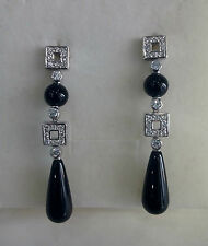 Orecchini donna argento 925,zirconi , agata nera idea Natale Earrings Silver