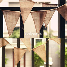 9ft Vintage Rustic Hessian Burlap Fabric Bunting Banner Flag Wedding Party Decor