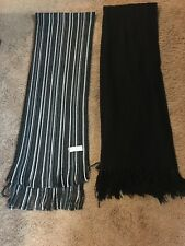 Geoffrey Beene Set of two mens scarves. White/Black striped and Black