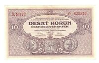 1927 Czechoslovak National Bank Note 10 Korun,P#20a