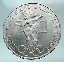 1968 Mexico XIX Olympic Games Aztec Ball Player BIG 25 Pesos Silver Coin i82430