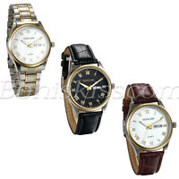 Men's Business Casual Luminous Stainless/Leather Band Date Quartz Wrist Watch
