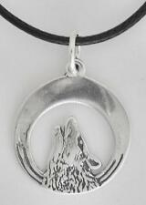 "Howling Wolf Pendant 6/8"" Round .925 Sterling Silver W Black Cord"