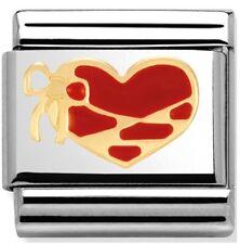 nomination encanto rojo Esmalte Corazón Con Oro Cinta