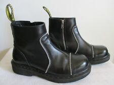 Dr Martens Black Leather Exposed Zippers Ankle Boots UK 7 Women US 9 Men US 8