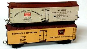 (2) Vintage Wood Refrigerator Cars: Green Bay & Western, Colorado & Southern