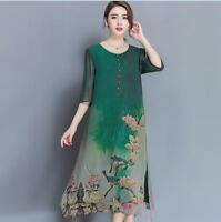 Chic Summer Womens 3/4 Sleeve Floral Loose Casual Fashion Tunic Maxi Long Dress