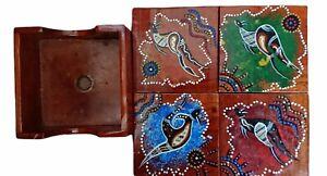 Australia Set of 4 Wooden Coasters Aboriginal Design in Storage Box Holder