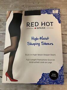 Red Hot Spanx High Waisted Shaping Sheers Sz 5 Very Black NIP