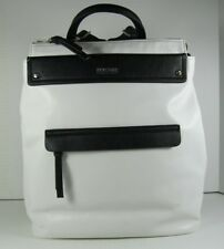KENNETH COLE REACTION NWT White Black  Contrast Zip Top Entry Shoulder Backpack