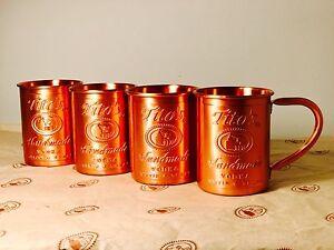 4 Tito's Vodka Copper Moscow Mule Mug Set New 4x