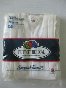 3 VINTAGE FRUIT OF THE LOOM WHITE TANK TOP ATHLETIC SHIRT MED 38-40 NEW USA MADE