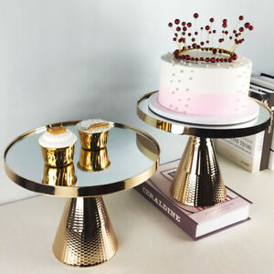 Mirror Cake Stand Tray Wedding Party Plate Silver Gold 12inch