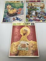 Vintage 1986 Sesame Street Big Bird's Portrait of a Friend Frame Tray Puzzle Lot