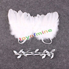 Girls Newborn Baby White Angel Wings Leaf Headband Photo Photography Prop